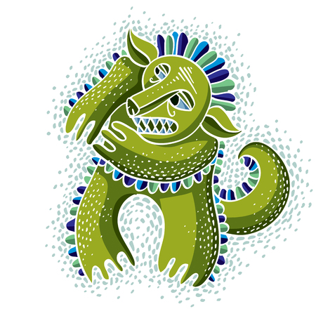 snoot: Character monster vector flat illustration, cute green mutant. Drawing of weird beast, emotional expression.