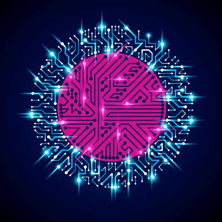 componentes: Vector ilustración de la tecnología luminiscente abstracto, placa de circuito de neón azul redonda con destellos. Alta tecnología digital de esquema circular del dispositivo electrónico.