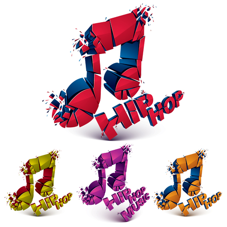 Colorful 3d vector shattered musical notes collection with specks and refractions. Hip hop music theme dimensional facet design music demolished symbols set. Illustration