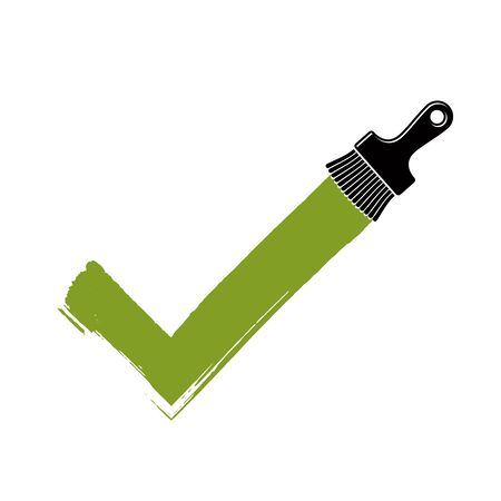 validation: Vector hand-drawn check mark isolated, validation sign created with paintbrush. Green acceptance symbol made with brushstrokes, choice concept. Illustration