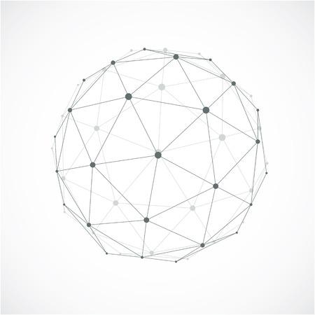 forme technologique en perspective avec des lignes grises connectés, objet wireframe polygonale avec effet de transparence. Résumé élément à facettes pour être utilisé comme structure de conception sur le thème de la technologie de communication