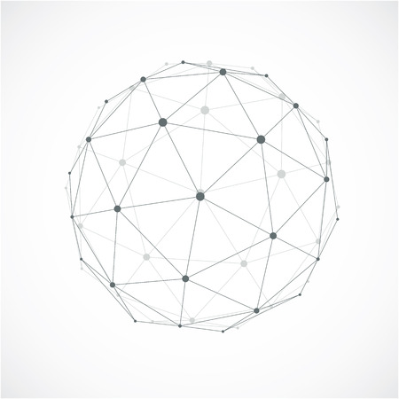gray netting: Perspective technology shape with gray lines connected, polygonal wireframe object with transparency effect. Abstract faceted element for use as design structure on communication technology theme Illustration