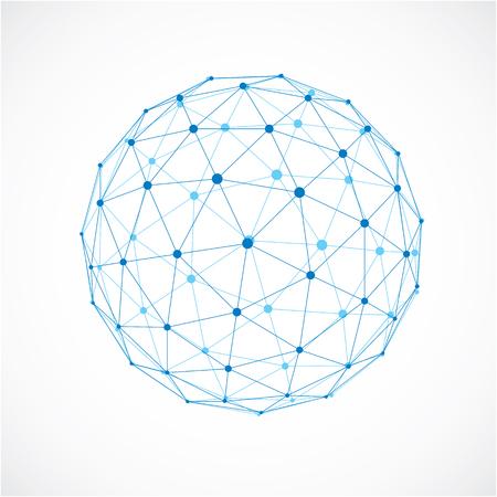 Objeto esférico del wireframe digital del vector 3d hecho usando facetas triangulares. Estructura poligonal geométrica creada con malla de líneas transparentes. Forma de polietileno baja, forma de celosía para uso en diseño web.