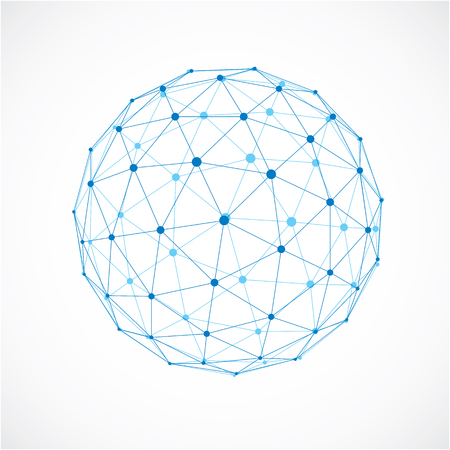 3d vector digital wireframe spherical object made using triangular facets. Geometric polygonal structure created with transparent lines mesh. Low poly shape, lattice form for use in web design.