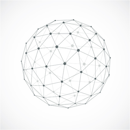 3d abstract faceted figure with connected blue lines and dots. Vector low poly design element, cybernetic orb shape with grid and transparent lines mesh.