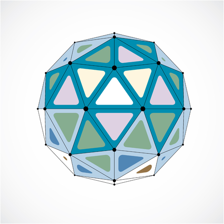 Vector dimensional wireframe low poly object, colorful spherical shape with black grid. Technology 3d mesh element made using triangular facets for use as design form in engineering. Illustration