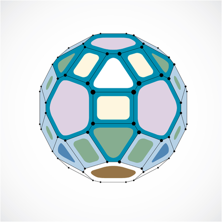 3d vector digital wireframe spherical object made using facets. Geometric polygonal colorful ball created with lines mesh and pentagons. Low poly shape, lattice form for use in web design.