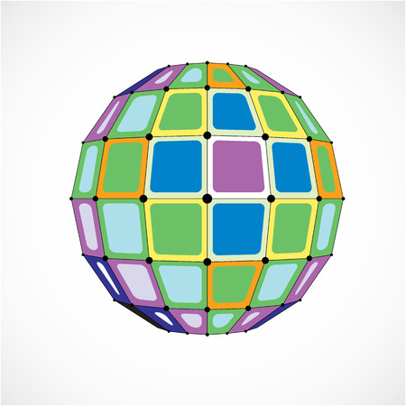 Perspective technology shape with black lines and dots connected, polygonal wireframe object. Abstract colorful faceted element for use as design structure on communication technology theme Illustration