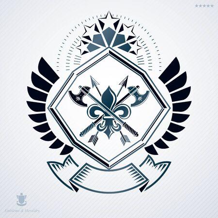 Heraldic vintage vector design element. Retro style label created using hatchets crossed and pentagonal stars