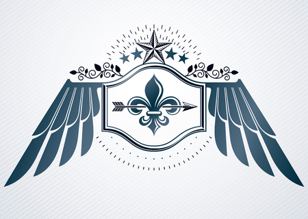 Vintage decorative heraldic vector emblem composed with eagle wings and pentagonal stars