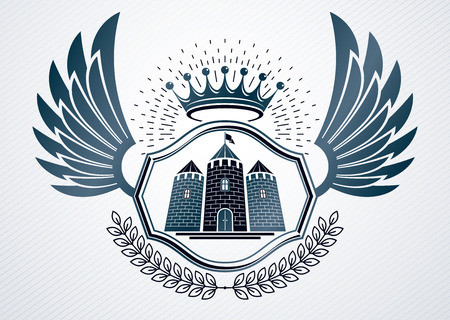 armory: Vintage decorative heraldic vector emblem composed with medieval tower and royal crown