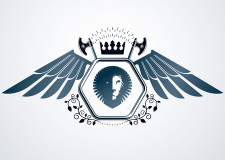 Vintage decorative heraldic vector emblem composed with eagle wings, wild lion illustration and royal crown Illustration