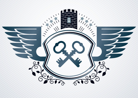 Vintage heraldry design template, vector emblem created using eagle wings, keys and medieval fortress