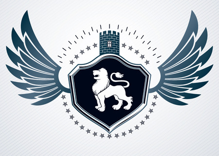 lion with wings: Vintage heraldry design template, vector emblem created using eagle wings, wild lion illustration and medieval fortress