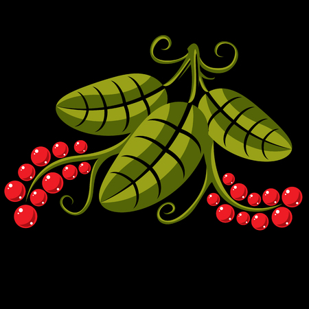 tendrils: Three spring or summer leaves simple vector icon, nature and gardening theme illustration. Stylized tree green leaf with tendrils and red seeds, botany and vegetarian design element.