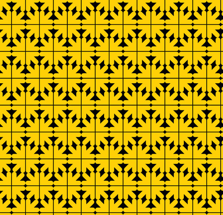 arrowheads: Contrast abstract seamless pattern with yellow arrows. Vector wallpaper with arrowheads. Endless decorative background, best for graphic and web design.