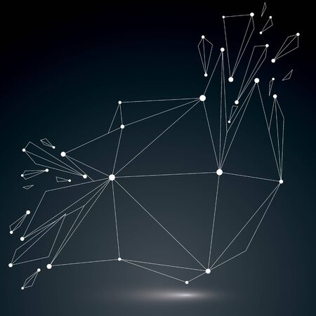 splinter: 3d vector low poly object with white connected lines and dots, geometric wireframe shape with refractions. Asymmetric perspective shattered form. Luminescent effect, communication technology.