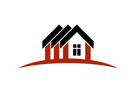 building sector: Abstract vector houses with horizon line. Can be used in advertising and branding as a corporate symbol. Real estate business theme. Illustration