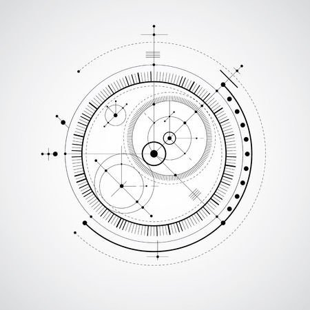 Mechanical scheme, black and white vector engineering drawing with circles and geometric parts of mechanism. Technical plan can be used in web design and as wallpaper.