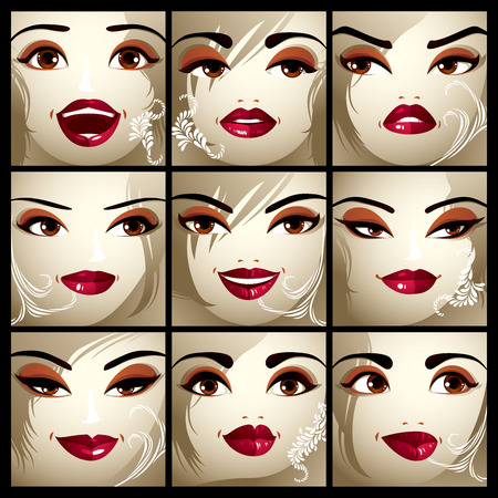 brows: Set of vector portraits of sexy women in different emotions. Parts of female faces with beautiful makeup, black brows, brown eyes and red lips.