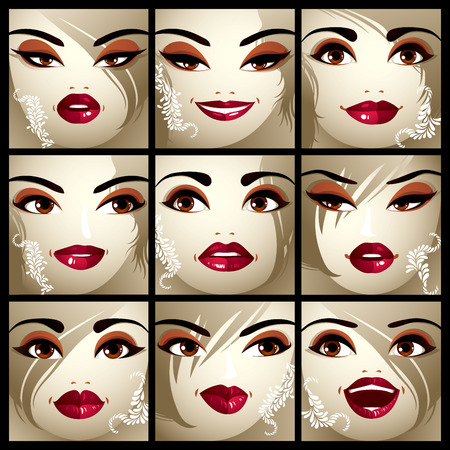expressing: Set of vector beautiful female portraits with stylish makeup and haircut. Women face features expressing different emotions. Illustration