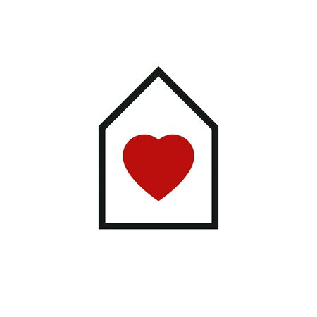 locality: House abstract vector icon, harmony at home idealistic concept. Simple building, architecture theme symbol for use in graphic design. Illustration