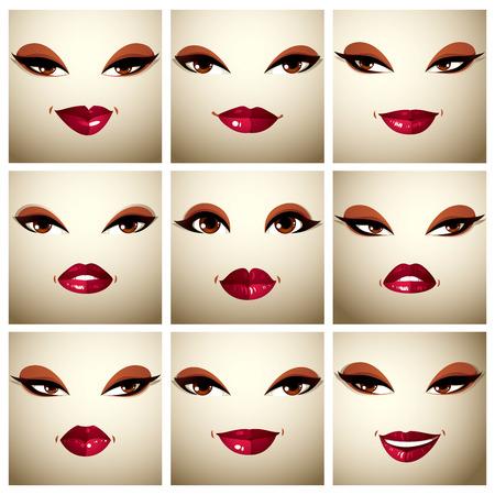다른 감정에서 섹시 한 여성의 벡터 초상화를 설정합니다. 아름 다운 메이크업, 검은 눈썹, 갈색 눈과 빨간 입술을 가진 여성 얼굴의 부분. 일러스트