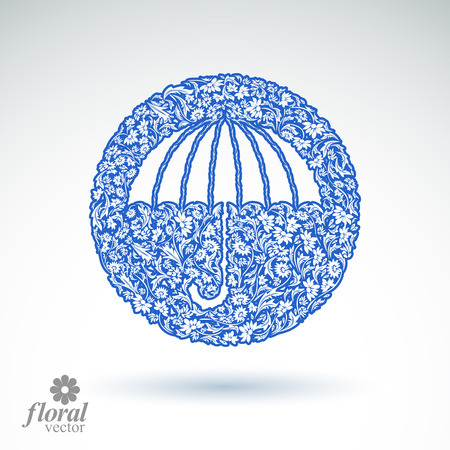 Beautiful flower-patterned umbrella. Stylized accessory, vector creative parasol, graphic brolly illustration, best for use in advertising and web design.
