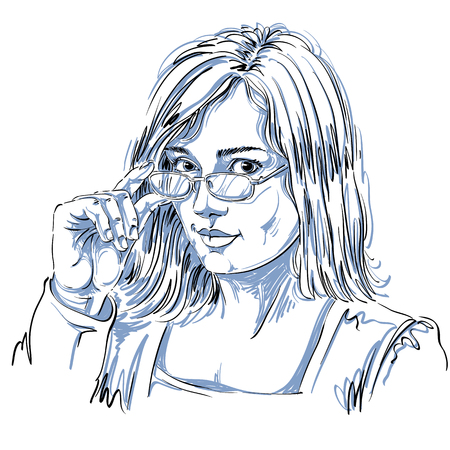 goodlooking: Portrait of delicate good-looking business woman with eyeglasses, black and white vector drawing. Emotional expressions idea image. Gorgeous lady with visage features expressing curiosity.