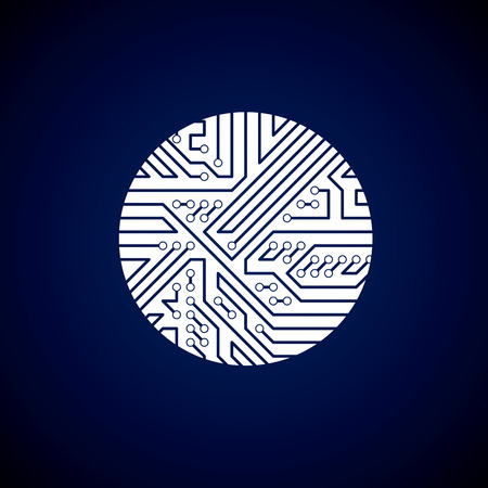 electronic components: Round circuit board with electronic components of technology device. Computer motherboard cybernetic white vector abstraction. Illustration