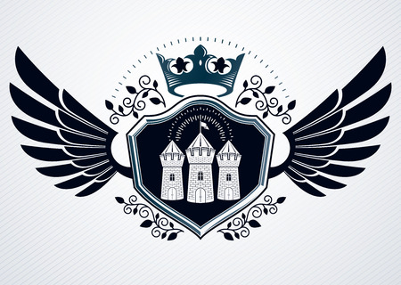 crown wings: Vintage heraldry design template, vector emblem created using eagle wings, medieval stronghold and imperial crown.