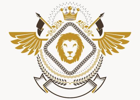 winged lion: Escudo heráldico emblema decorativo con las alas del pájaro, ejemplo del vector de la corona real y la cruz cristiana