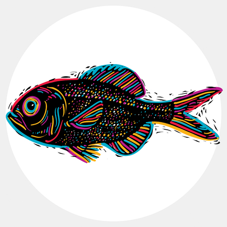 Fish species, vector marine fauna symbol. Hand drawn silhouette of fish, healthy eating. Zoology theme symbol, can be used in graphic design. Illustration