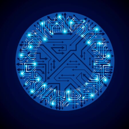 multidirectional: Vector abstract luminescent technology element, round blue neon circuit board with sparkles. High tech circular digital scheme of electronic device, multidirectional arrows.