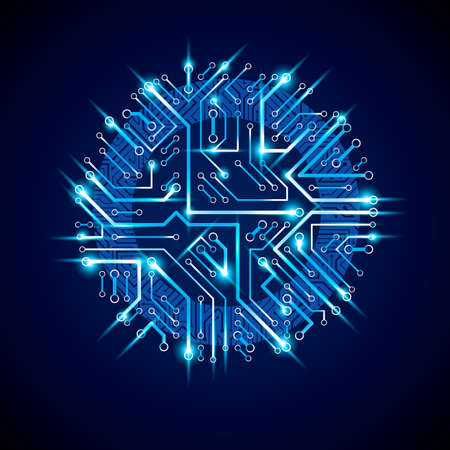 electronic components: Round luminescent blue circuit board with electronic components of technology device. Computer motherboard cybernetic vector abstraction with flash effect. Illustration