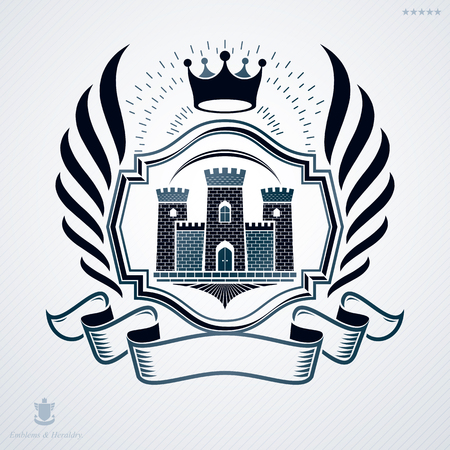 Vintage vector emblem made in heraldic design with medieval fortress and royal crown Illustration