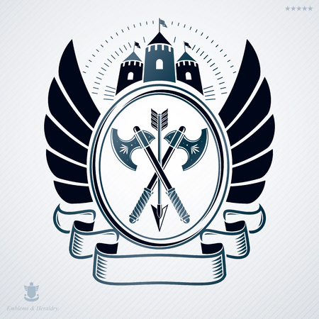 armory: Vintage vector emblem made in heraldic design with wings, armory and tower Illustration