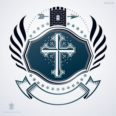 cross and wings: Heraldic emblem made using graphic elements like tower, wings and religious cross, vector illustration. Illustration
