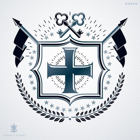 laurel leaf: Classy emblem made with laurel leaf decoration, Christian cross and keys symbols. Vector heraldic Coat of Arms. Illustration
