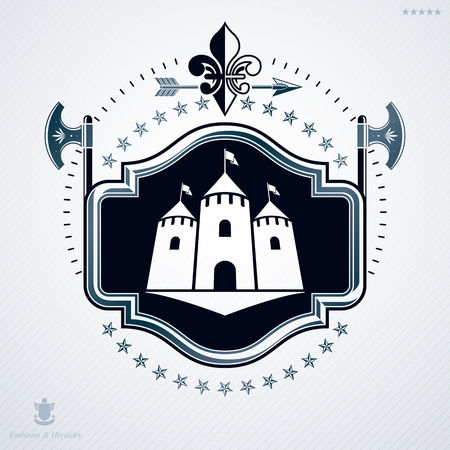 armory: Vector illustration of old style heraldic emblem made with medieval tower and armory Illustration