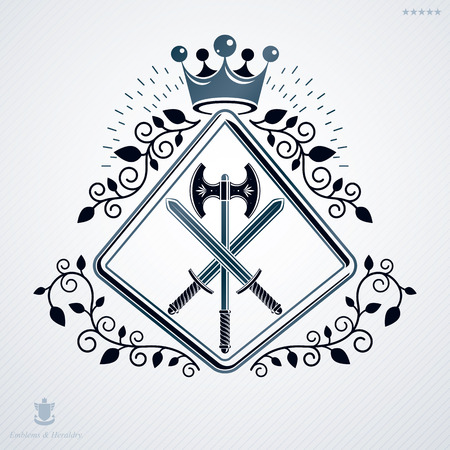 Vector illustration of old style heraldic emblem made with imperial crown and armory Illustration