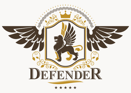 lion with wings: Vintage decorative heraldic vector emblem composed using eagle wings, wild lion illustration and pentagonal stars