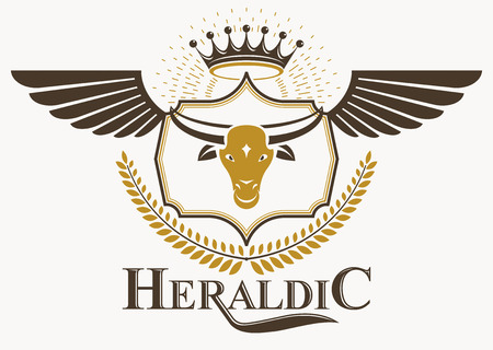 Vintage decorative heraldic vector emblem composed with bull head illustration and imperial crown