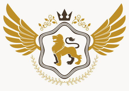 lion with wings: Luxury heraldic vector emblem template made using bird wings, wild lion illustration and imperial crown