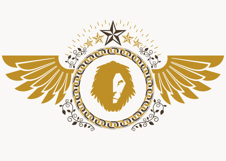 lion with wings: Heraldic sign made using vector vintage elements, bird wings, wild lion illustration and pentagonal stars.