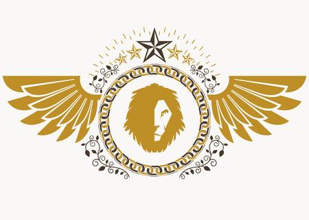 Heraldic sign made using vector vintage elements, bird wings, wild lion illustration and pentagonal stars.