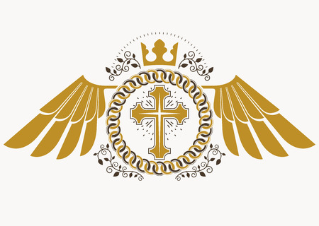 Heraldic sign made using vector vintage elements, bird wings, religious cross and imperial crown.