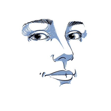 Portrait of tender dreamy still woman, black and white vector drawing. Emotional expressions idea image, face features. Monochrome illustration.
