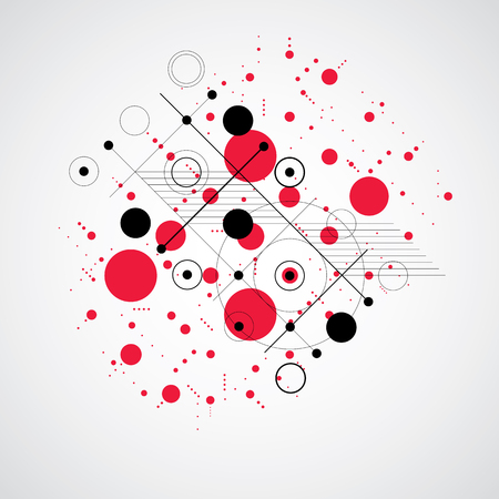 Bauhaus art composition, decorative modular red vector wallpaper with circles and grid. Retro style pattern, graphic backdrop for use as booklet cover template.