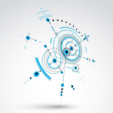 perspectiva lineal: composición Bauhaus arte tridimensional, en perspectiva el papel pintado azul del vector modular con círculos y rejilla. patrón de estilo retro, telón de fondo gráfico para su uso como plantilla de la cubierta folleto.